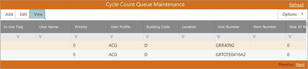 Cycle Count Queue Maint WMS Server